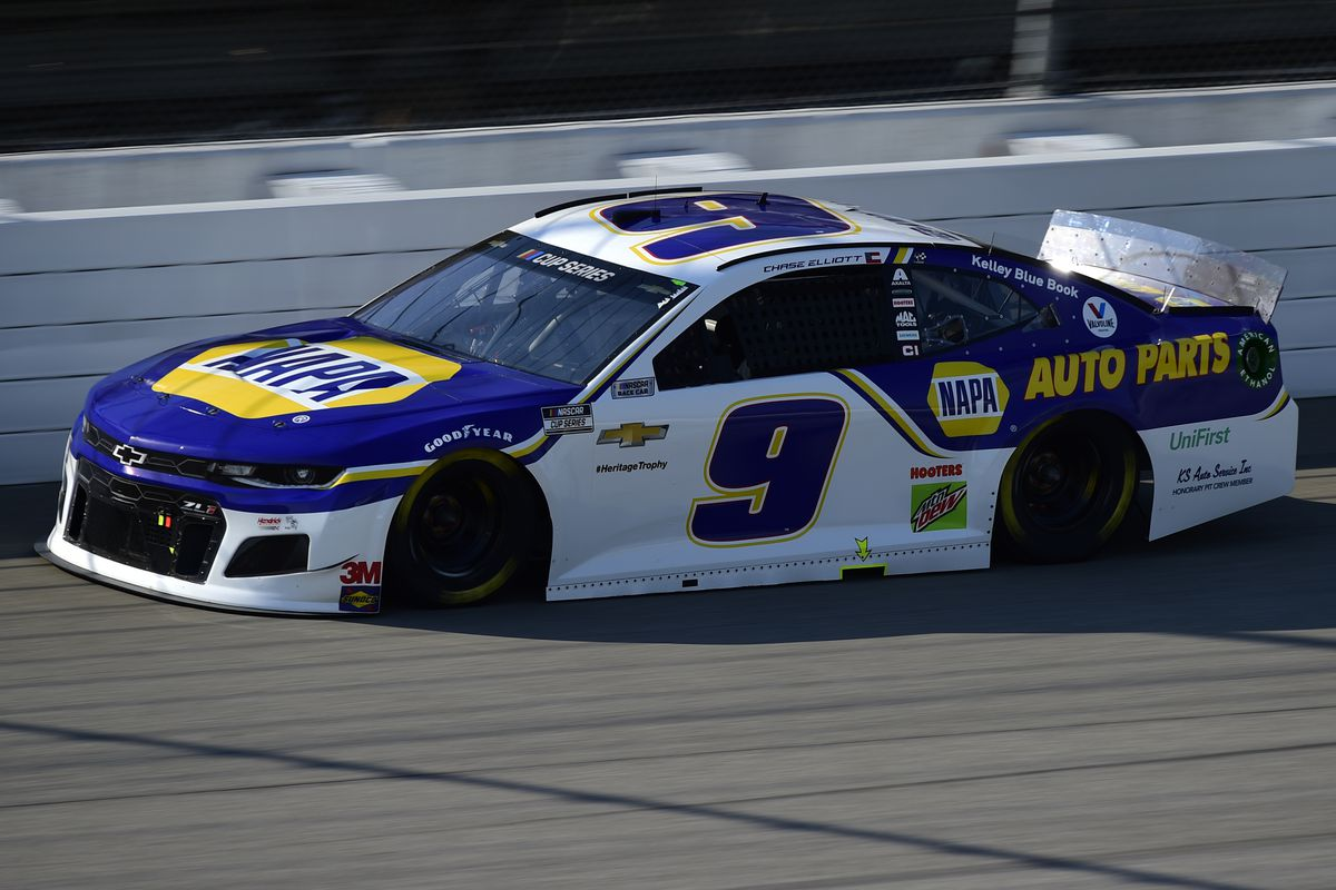 Chase Elliott, driver of the #9 NAPA Auto Parts Chevrolet, drives during the NASCAR Cup Series FireKeepers Casino 400 at Michigan International Speedway on August 08, 2020 in Brooklyn, Michigan.