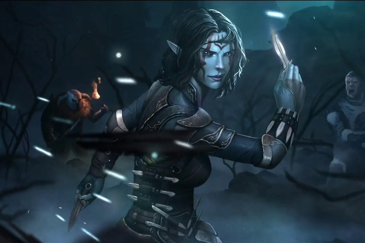 The Elder Scrolls Legends-- dark elf brandishes dagger