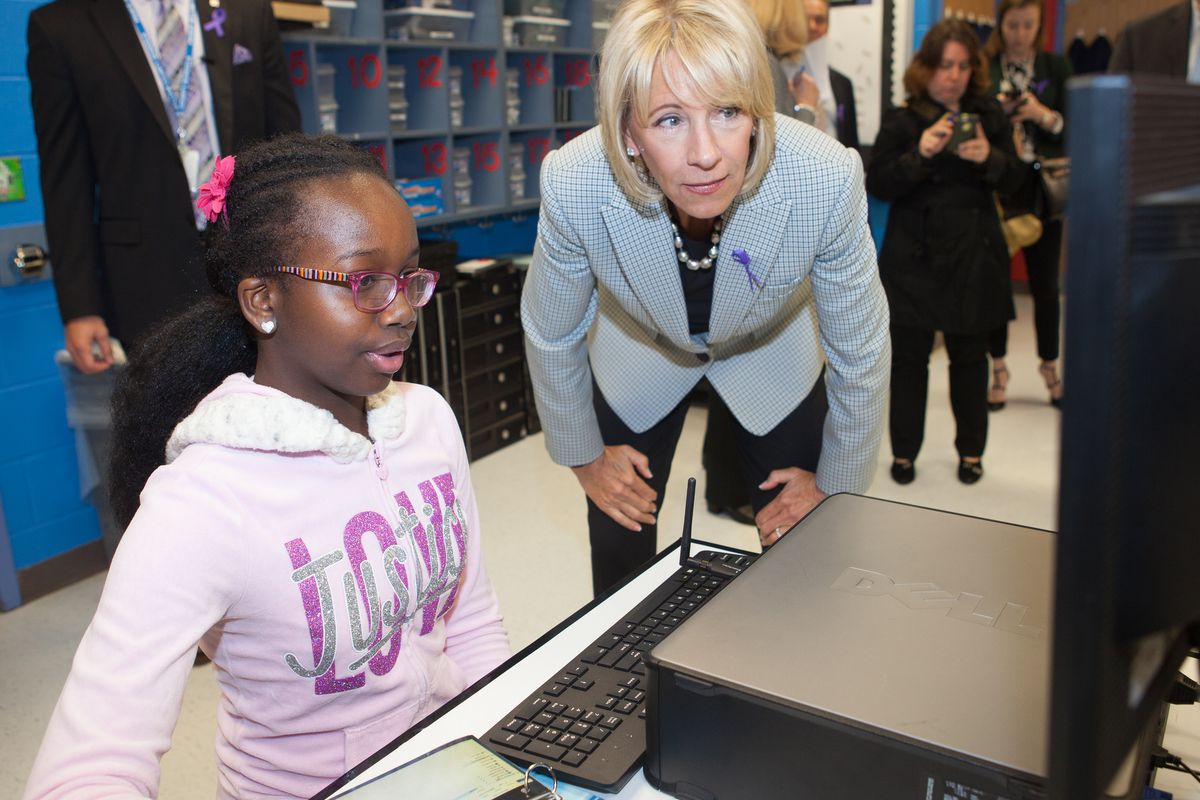 U.S. Education Secretary Betsy DeVos at Ashland Elementary School.