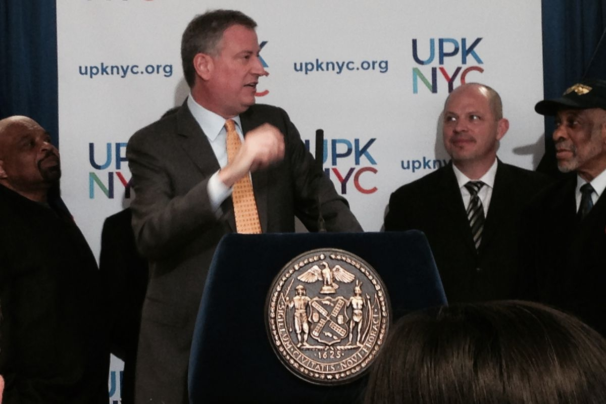 Mulgrew alongside Mayor Bill de Blasio this morning at a press conference to announce labor support for his pre-kindergarten tax plan.
