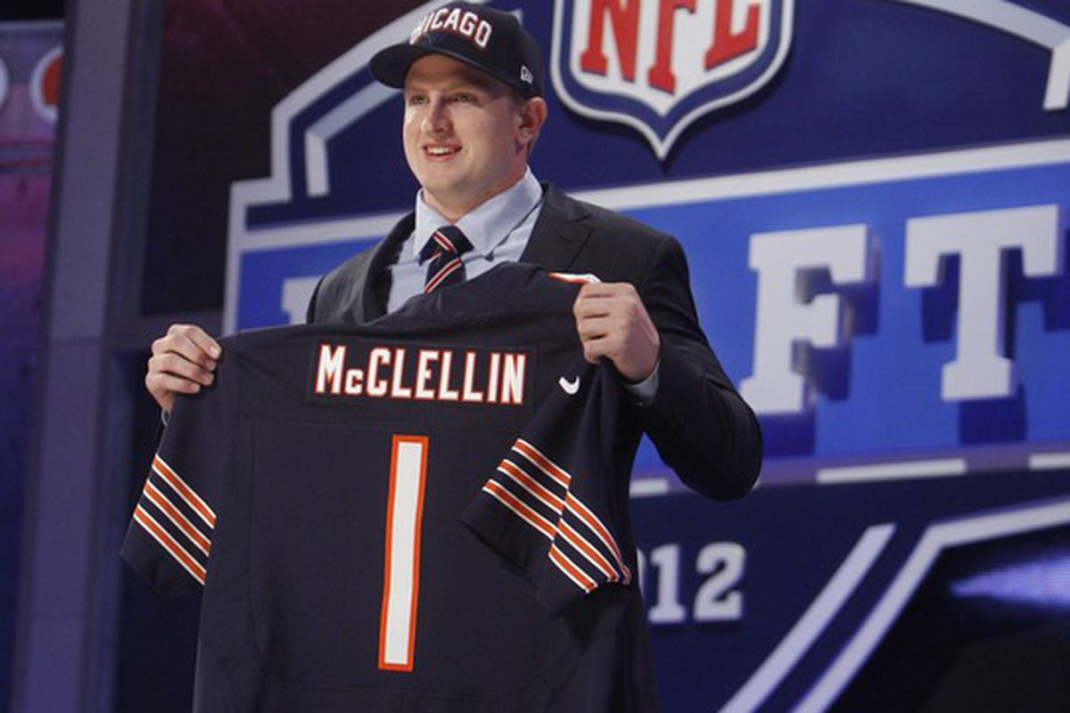 Apr 26, 2012; New York, NY, USA; Shea McClellin (Boise State) is introduced as the number nineteen overall pick to the Chicago Bears in the 2012 NFL Draft at Radio City Music Hall. Mandatory Credit: Jerry Lai-US PRESSWIRE