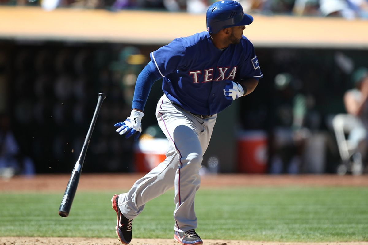OAKLAND, CA - AUGUST 13:  Elvis Andrus #1 of the Texas Rangers hits an RBI double in the eighth inning against the Oakland Athletics at O.co Coliseum on August 13, 2011 in Oakland, California.  (Photo by Jed Jacobsohn/Getty Images)
