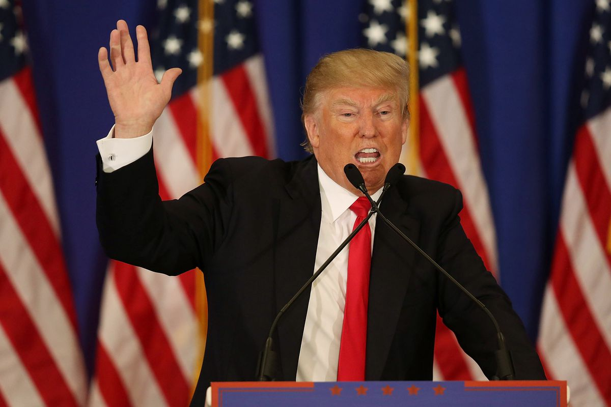 Republican presidential candidate Donald Trump speaks during a press conference at the Trump National Golf Club Jupiter on March 8, 2016, in Jupiter, Florida.