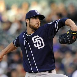San Diego Padres starting pitcher Anthony Bass throws in the first inning of a baseball game against the Colorado Rockies on Tuesday, April 17, 2012, in Denver.