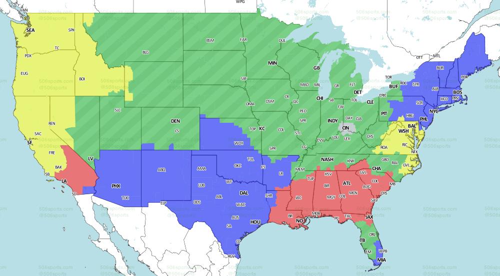 LA Rams at Atlanta Falcons: Week 7 broadcast map