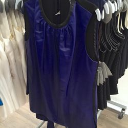 Blue leather ruche top, $423 (was $1,690)