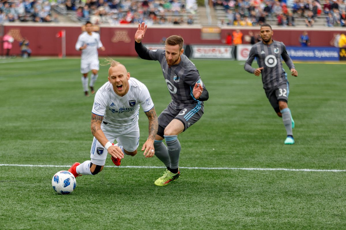 May 12, 2018 - Minneapolis, Minnesota, United States - Minnesota United defender, Jerome Thiesson (3) is called for a foul in the box on San Jose midfielder, Magnus Eriksson (7) during the Minnesota United vs San Jose Earthquakes match at TCF Bank Stadium.   (Photo by Seth Steffenhagen/Steffenhagen Photography)