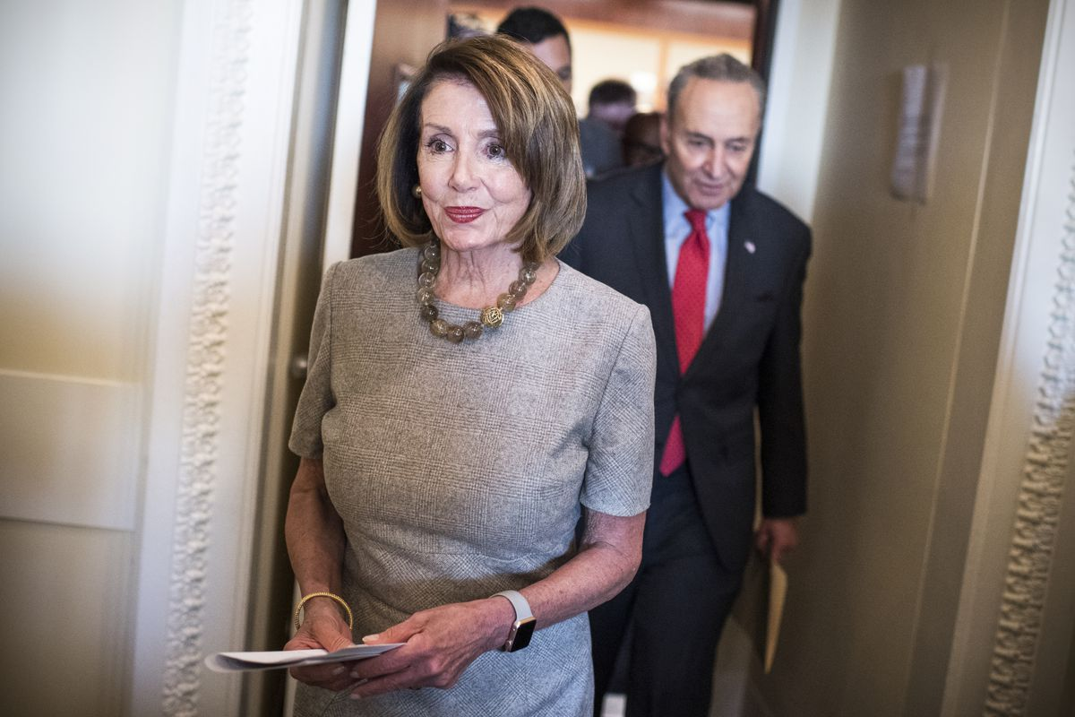 Speaker Nancy Pelosi (D-Calif.), and Senate Minority Leader Charles Schumer (D-N.Y.), conclude a news conference in the Capitol on January 25, 2019.