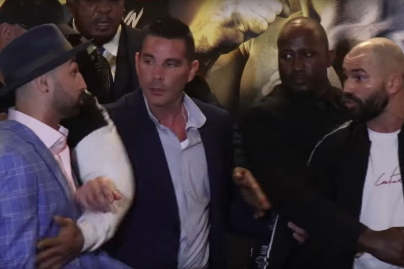 Paulie Malignaggi and Artem Lobov had to be separated at a Bare Knuckle Fighting Championship press conference in New York City on Monday