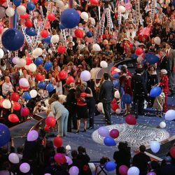 FILE - In this July 29, 2004 file photo, balloons fall near the stage and the end of the Democratic National Convention in Boston. With a threat of rain, there will be no downpour of balloons. A Democratic convention official says the finale at the Democratic National Convention will miss the traditional massive balloon drop after President Barack Obama delivers his nomination acceptance speech.