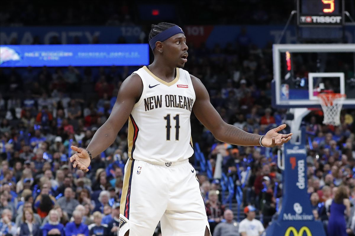 New Orleans Pelicans guard Jrue Holiday reacts after a play against the Oklahoma City Thunder during the second half at Chesapeake Energy Arena. Oklahoma City won 109-104.
