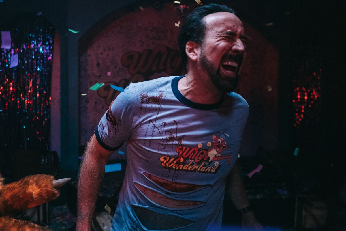 Nic Cage survives an explosive blast in Willy's Wonderland