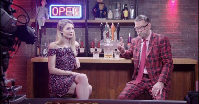 Lauren Southern and Gavin McInnes on a TV set.