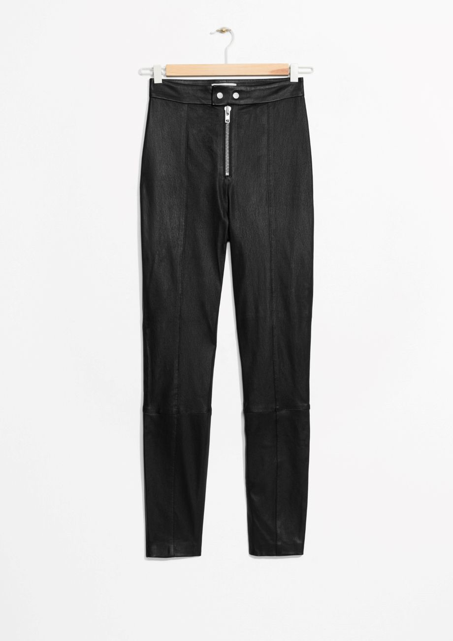 Zip leather pants
