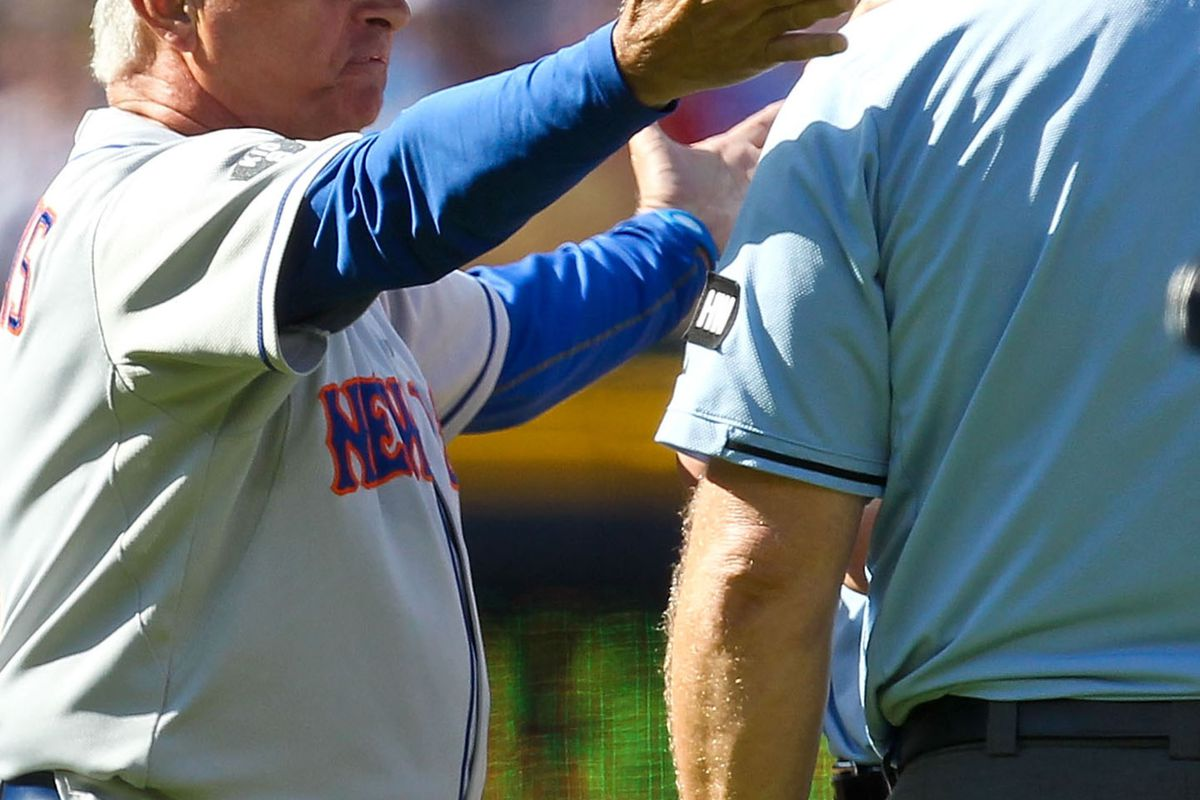July 14, 2012; Atlanta, GA, USA; New York Mets manager Terry Collins (10) argues with the umpires after being thrown out of the game in the fifth inning against the Atlanta Braves at Turner Field. Daniel Shirey-US PRESSWIRE