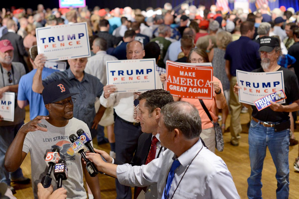 John Caputo is interviewed by reporters at an event held by Republican presidential nominee Donald Trump at the Radisson Hotel August 25, 2016, in Manchester, New Hampshire.