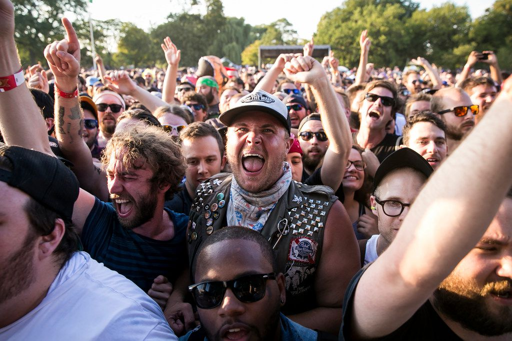Fans cheer as The Lawrence Arms performs on day two of Riot Fest in Douglas Park, Sept. 16, 2017. | Ashlee Rezin/Sun-Times