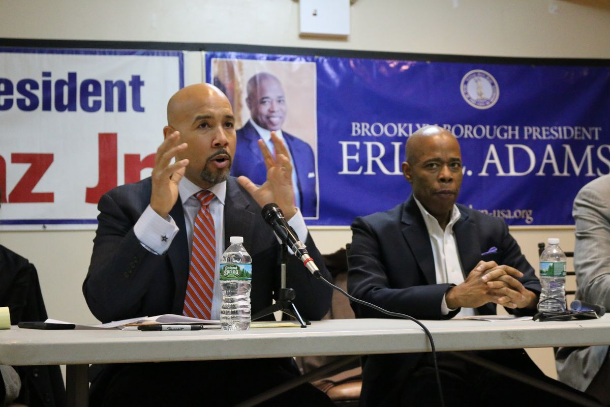 Bronx Borough President Ruben Diaz, left, and Brooklyn Borough President Eric Adams, right, hosted a task force to discuss issues in gifted education and specialized high schools.