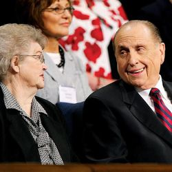 President Thomas Monson laughs with his wife Francis prior to speaking to Women's Conference attendees at Brigham Young University in Provo May 2, 2008. Jeffrey D. Allred/photo
