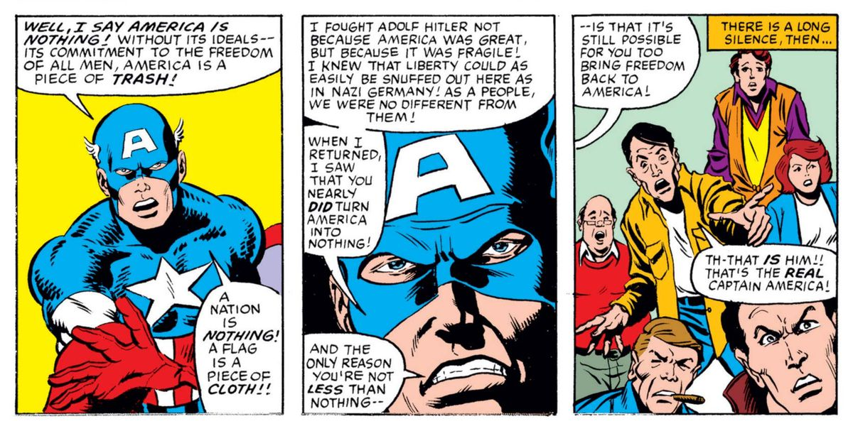 """Captain America criticizes a crowd of xenophobes saying """"I fought Adolf Hitler not because America was great, but because it was fragile! I knew liberty could as easily be snuffed out here as in Nazi Germany!"""" in What If...? #44, Marvel Comics (1984)."""