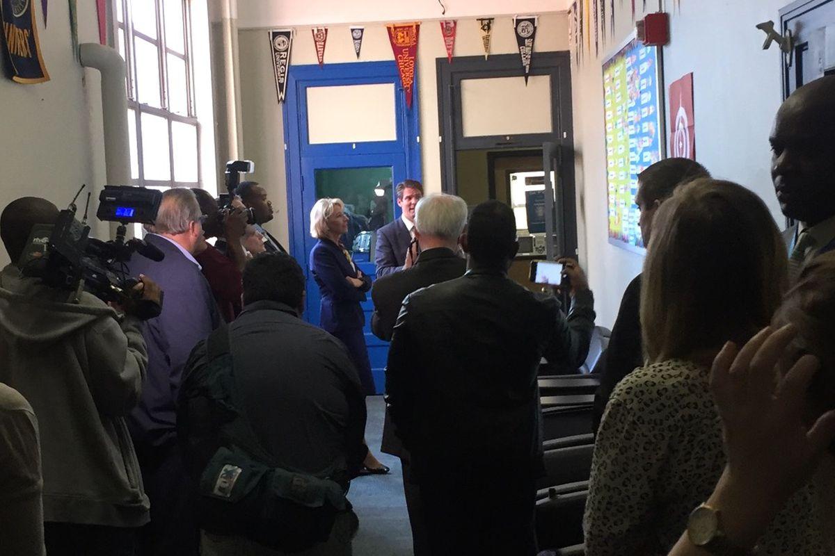 U.S. Education Secretary Betsy DeVos at Providence Cristo Rey in Indianapolis.