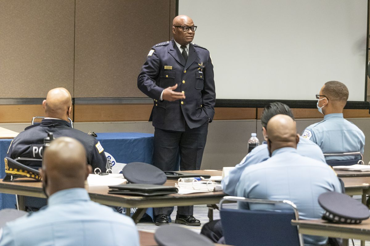 Officers beginning their District Coordination training kick-off their four week program with a speech by Police Supt. David Brown at the McCormick Place Lakeside Center May 7.
