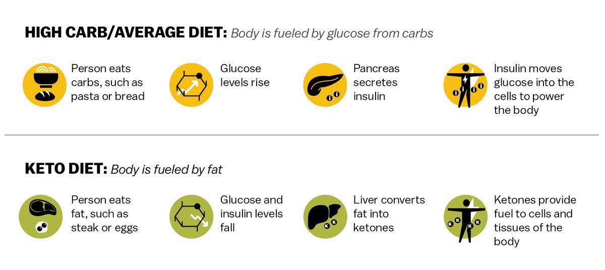 Graphique comparant la façon dont le corps tire son énergie d'un régime riche en glucides / moyen à son apport en énergie dans le régime céto