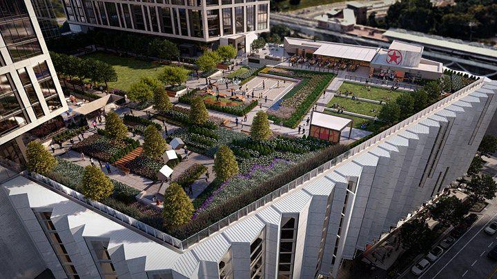An aerial view of Starr Hill Biergarten