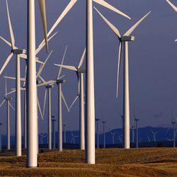A wind turbine farm owned by PacifiCorp stands near Glenrock, Wyo., Monday, May 6, 2013.  Wind farms owned by the company, with clusters of turbines as tall as 30-story buildings and spinning rotors the size of jetliners, have killed at least 20 eagles in the state, according to data obtained by The Associated Press. It's the not-so-green secret of the nation's wind-energy boom: Spinning turbines are killing thousands of federally protected birds, including eagles, each year.