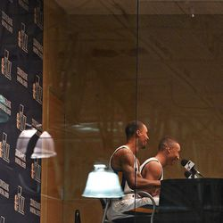 Utah Jazz guards George Hill, left, and Dante Exum answer questions during Media Day at Zions Bank Basketball Center in Salt Lake City on Monday, Sept. 26, 2016.