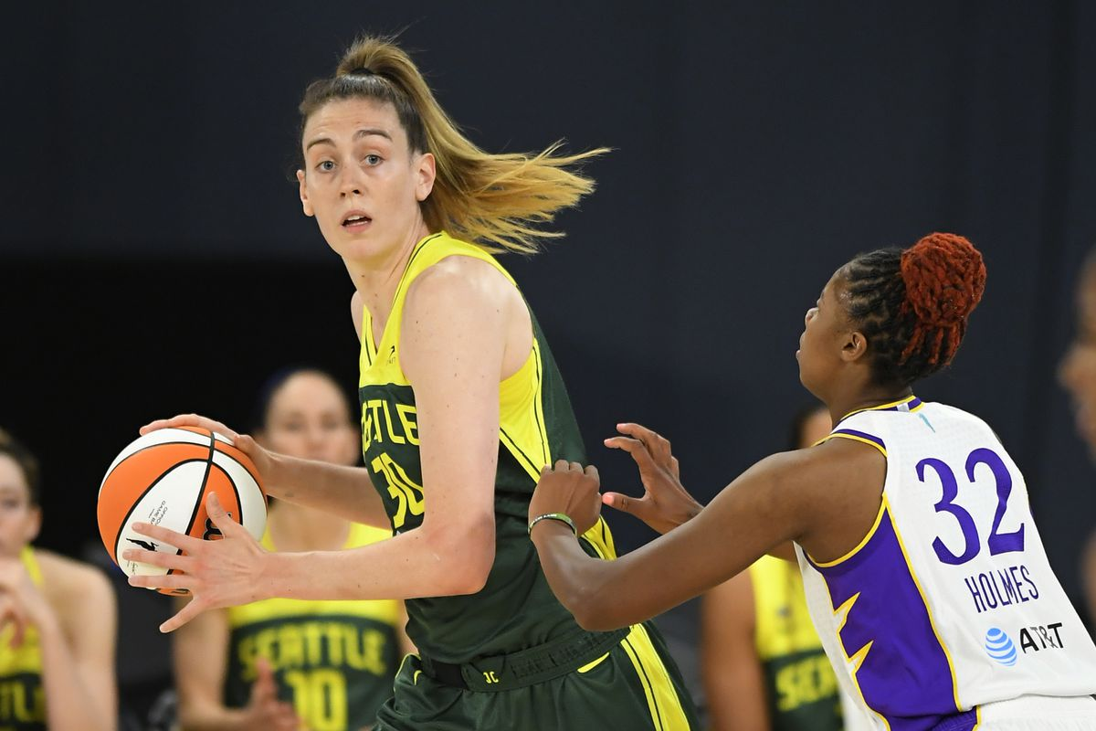Breanna Stewart #30 of the Seattle Storm tries to get around Bria Holmes #32 of the Los Angeles Sparks at the Los Angeles Convention Center on July 4, 2021 in Los Angeles, California.