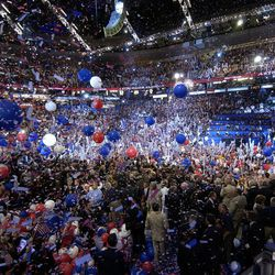 FILE - In this July 29, 2004 file photo, balloons and confetti blizzard the FleetCenter in Boston at the end of the Democratic National Convention. With a threat of rain, there will be no downpour of balloons. A Democratic convention official says the finale at the Democratic National Convention will miss the traditional massive balloon drop after President Barack Obama delivers his nomination acceptance speech.