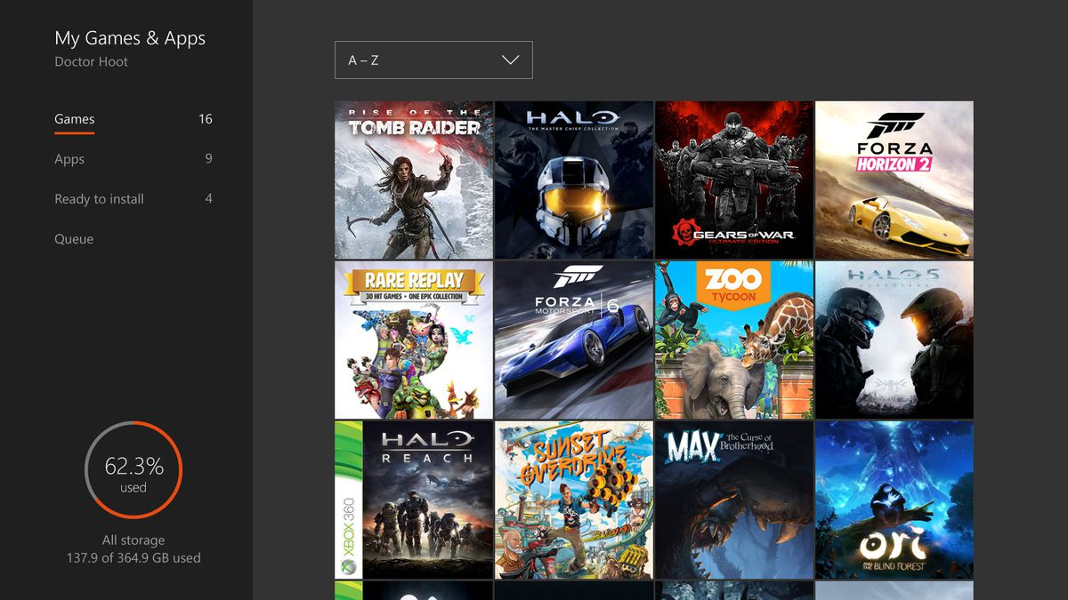 new xbox one game collection screen