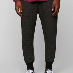 """<strong>CPO</strong> Jacquard Knit Jogger Pant in Black, <a href=""""http://www.urbanoutfitters.com/urban/catalog/productdetail.jsp?id=28297091&parentid=M_BOTTOMS&color=004"""">$59</a> at Urban Outfitters"""