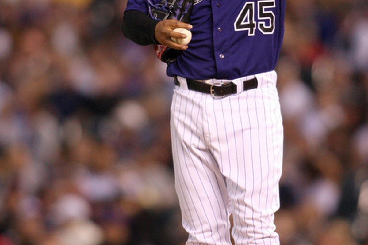 May 1, 2012; Denver, CO, USA; Colorado Rockies pitcher Jhoulys Chacin (45) on the mound during the fifth inning against the Los Angeles Dodgers at Coors Field.  Mandatory Credit: Chris Humphreys-US PRESSWIRE