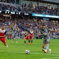 July 13, 2019 - Saint Paul, Minnesota, United States - Minnesota United forward Mason Toye (23) scores a goal in the 90'+1' of the match FC Dallas match at Allianz Field.