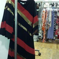 Striped metallic jersey gown, $275