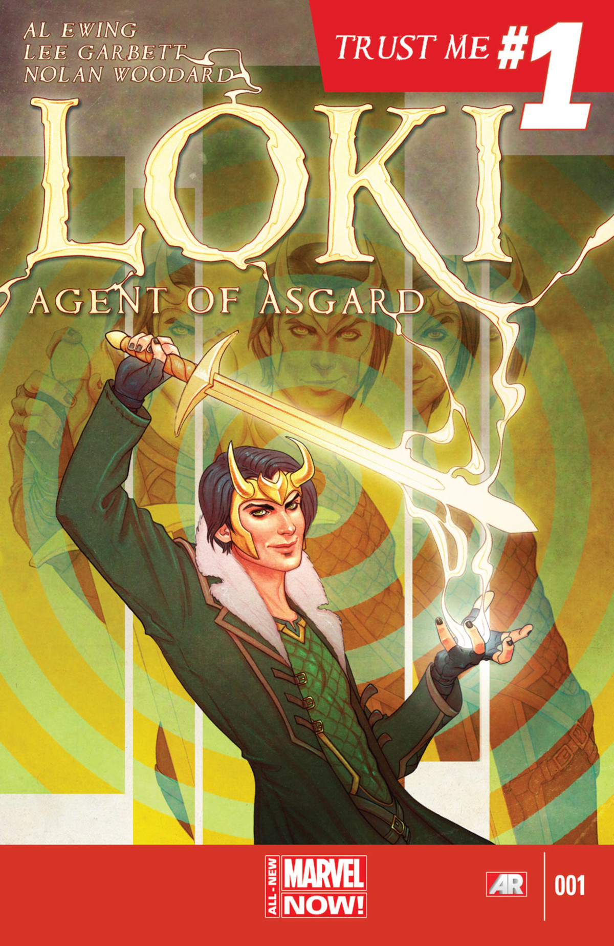 Loki charges a sword with magic, somehow doing it with a disrespectful air, on the cover of Loki: Agent of Asgard #1, Marvel Comics (2014).