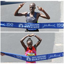 Kenya's Wesley Korir, top, and compatriot Sharon Cherop, bottom, are shown winning the men's and women's divisions of the 116th Boston Marathon in Boston, Monday, April 16, 2012. Korir finished in 2 hours, 12 minutes, 40 seconds. Cherop finished in 2 hours, 31 minutes, 50 seconds.