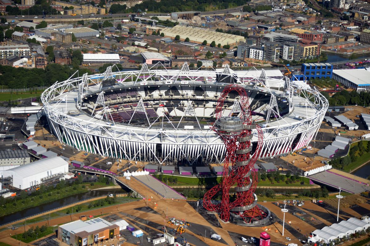 Jul 12, 2012; London, UNITED KINGDOM; Aerial view of the Olympic Stadium and the ArcelorMittal Orbit. Mandatory Credit: Kirby Lee/Image of Sport-US PRESSWIRE