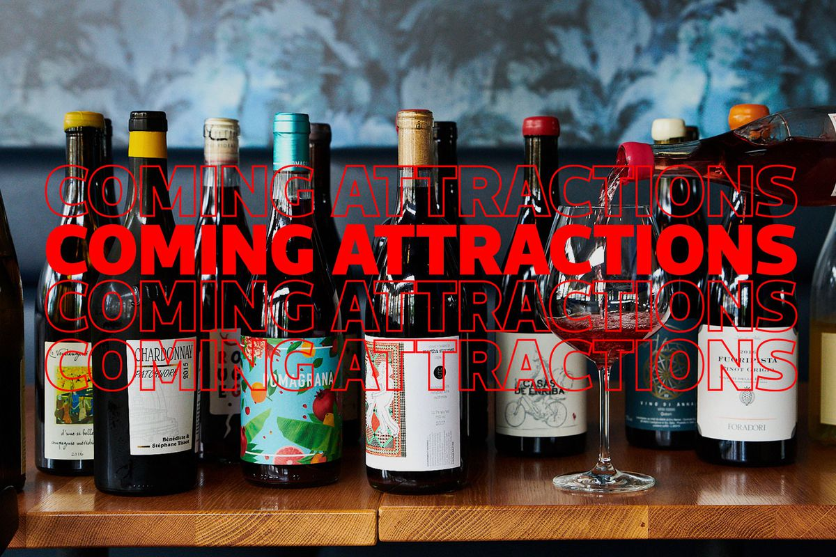 """Several bottles of wine with the heading """"coming attractions"""" in red."""