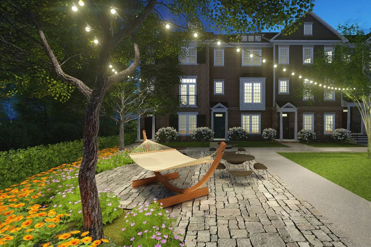 A rudimentry rendering of townhomes with a hammock and large patio.