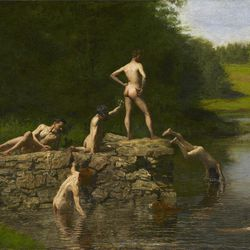 This undated photo provided by the  Amon Carter Museum of American Art, shows Thomas Eakins', Swimming. The painting will be included in an exhibit opening next year at the Dallas Museum of Art that will feature almost all of the works of art gathered from museums and prominent Fort Worth citizens for the hotel suite John F. Kennedy and first lady Jacqueline Kennedy stayed in the night before he was assassinated.