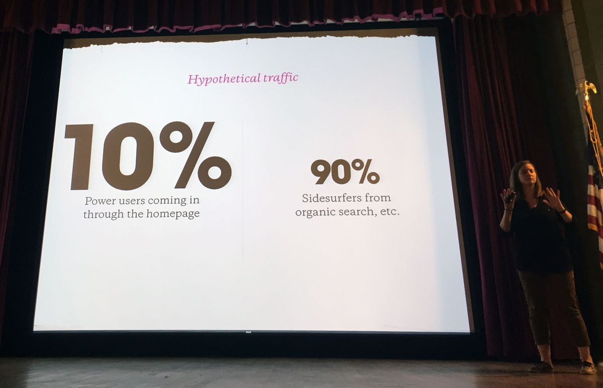 """""""The Homepage is Dead: Designing for Content and Functionality"""" presentation from Natalie Be'er at Forge Conference."""