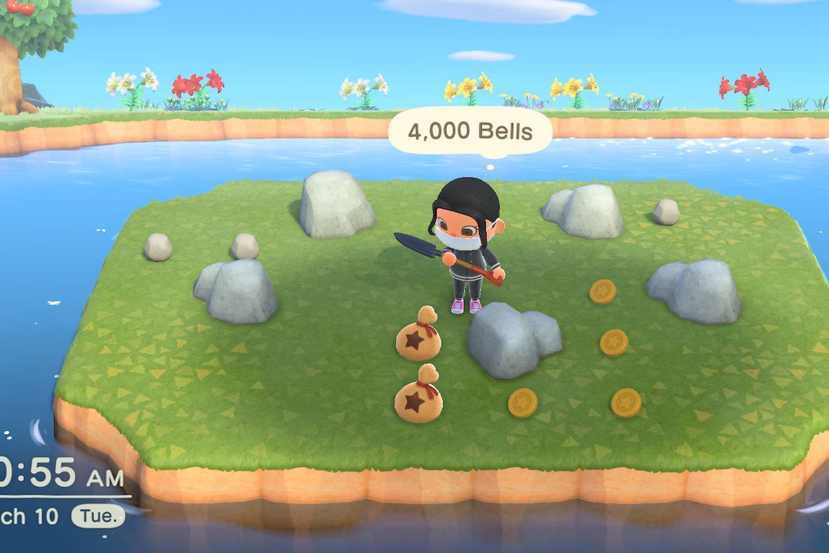 A villager stands with a shovel surrounded by rocks, with money near them