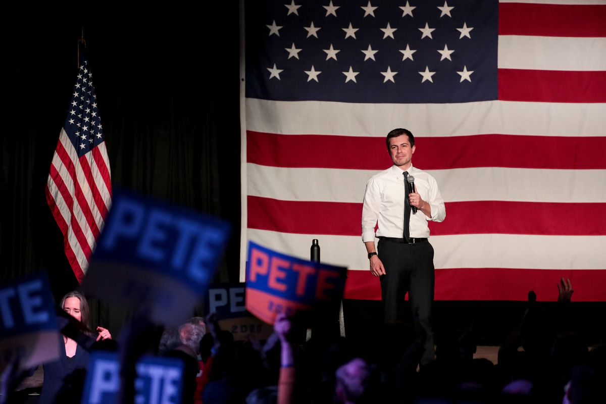 Democratic presidential candidate Pete Buttigieg speaks during a town hall at The Union Event Center in Salt Lake City on Monday, Feb. 17, 2020.