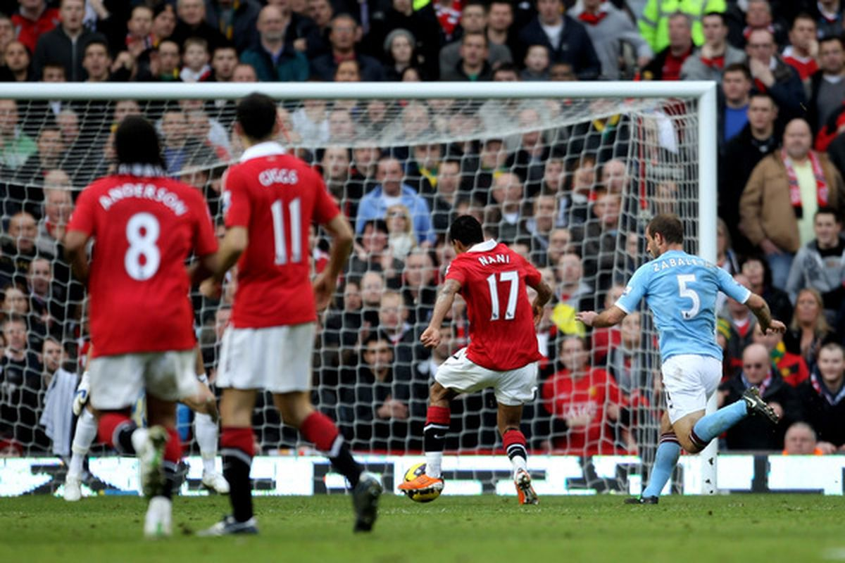 Manchester City had no answer for Nani during the derby match at Old Trafford. (Photo by Alex Livesey/Getty Images)