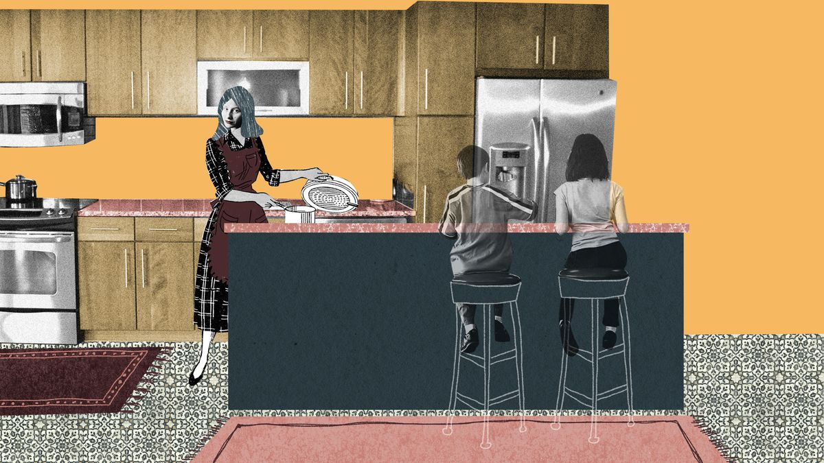 A woman stands behind a large kitchen island while her two children sit on stools on the other end. There's decorative tile floor, large wooden cabinets and rose-colored runner carpets. The island is the focal point of the scene. Illustration.