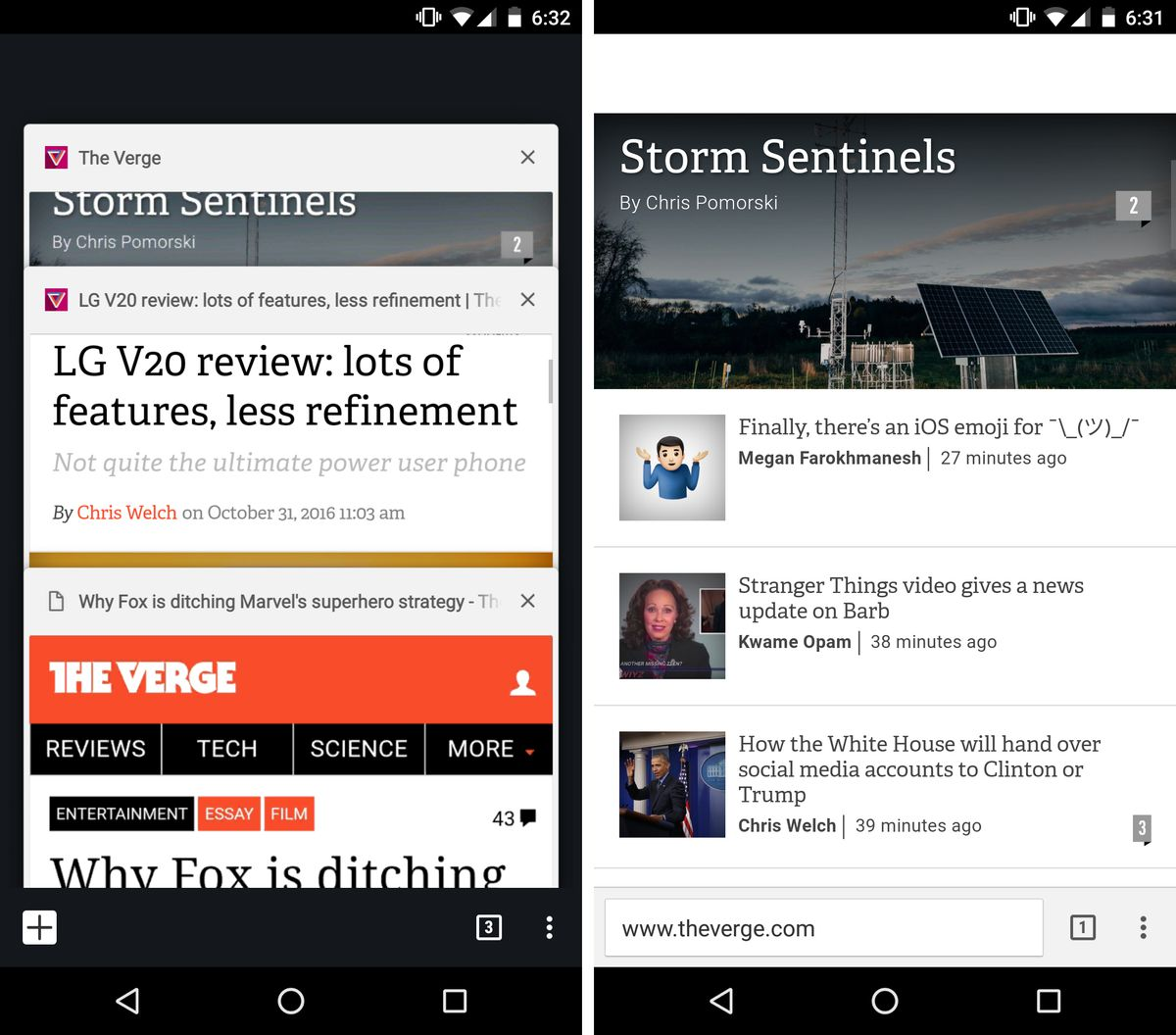 Chrome for Android bottom tabs test