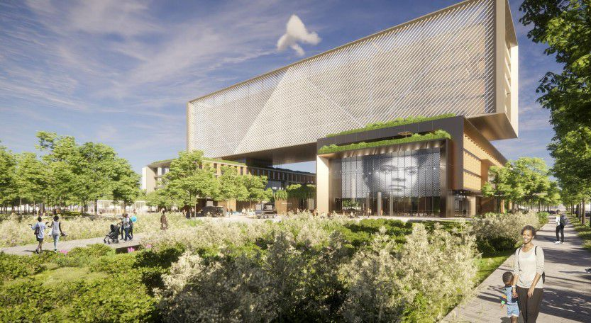 A rendering of the proposed research and innovation center to be anchored by Israel's Sheba Medical Center.